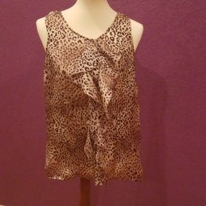 Notations sheer animal print ruffle top